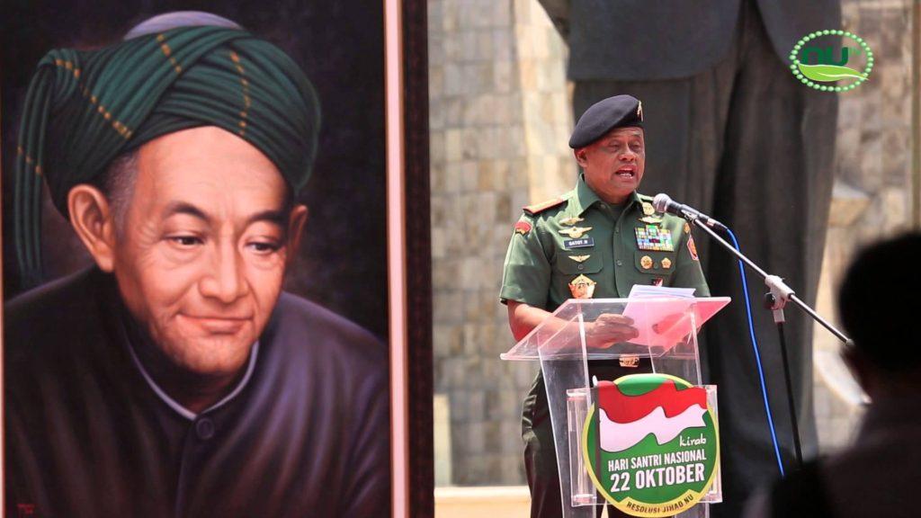 Panglima TNI saat memberi sambutan pada puncak Hari Santri. Foto: NU TV